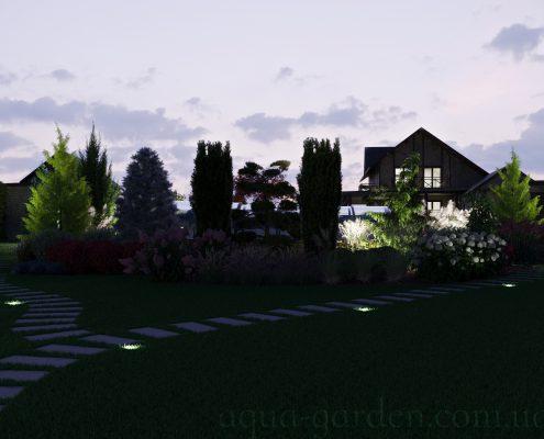 Освещение ночью ландшафтный дизайн