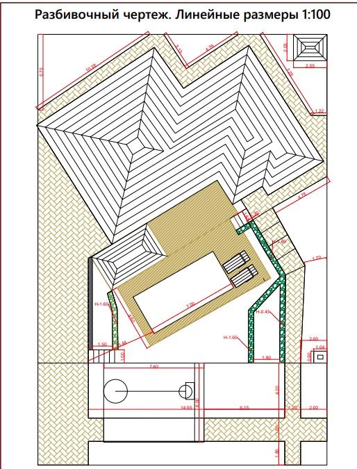 Разбивочный чертеж для ландшафтного дизайн-проекта