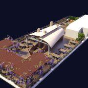 Визуализация территории ресторана с открытой террасой