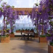 Декорация ресторана яркими цветами