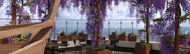 Использование ярких цветов в благоустройстве террасы ресторана