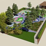 Яркая детская площадка с деревьями