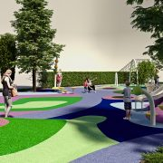 Площадка для детей с цветным покрытием