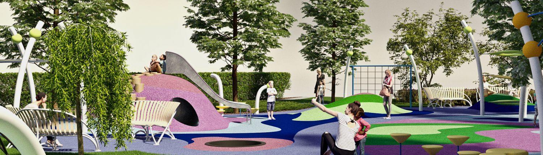 Детская площадка с цветным покрытием и деревьями