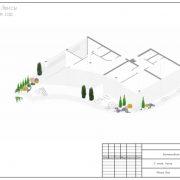 План-проект ландшафта гостиницы снаружи на этаже